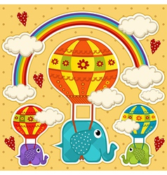 elephant in a balloon baby card vector image vector image