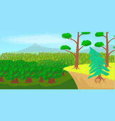 Forest landscape horizontal banner cartoon style vector