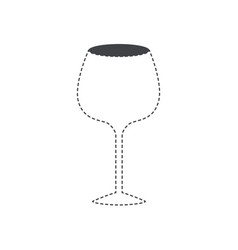 glass of champagne sour black silhouette and vector image