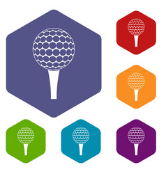 Golf ball on a tee icons set hexagon vector