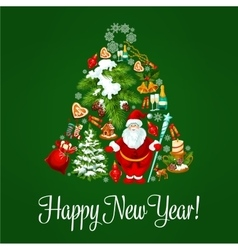 Happy new year poster greeting card vector