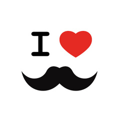 I love mustache with red heart shape vector