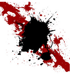 Ink black and red paint splatter background vector