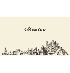 Mexico skyline drawn sketch vector image vector image
