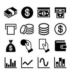 Money and business icon set vector image