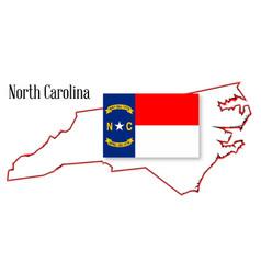 north carolina state map and flag vector image vector image