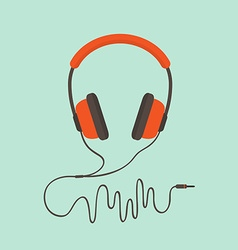 Orange headphones vector image