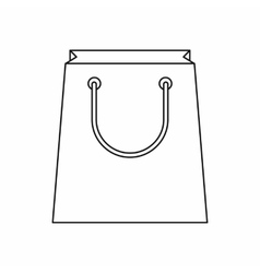 Paper shopping bag icon outline style vector image