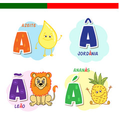 Portuguese alphabet olive oil lion pineapple vector
