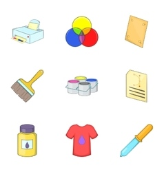 Printing icons set cartoon style vector