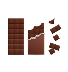 Realistic Chocolate Bar Bitten with Pieces vector image