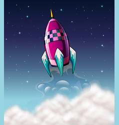 rocket flying in the space vector image vector image