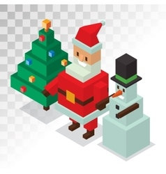 Santa claus snowman icons isometric 3d vector