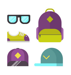 School bag and fashion accessory icons vector