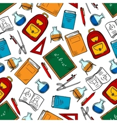 School supplies and objects seamless pattern vector image vector image