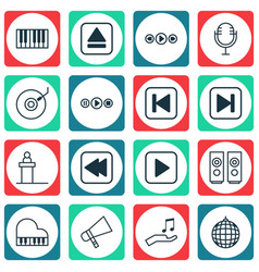 Set of 16 multimedia icons includes bullhorn vector