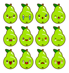 set of green pear characters with different vector image