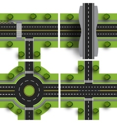 Set transport hub The intersections of various vector image