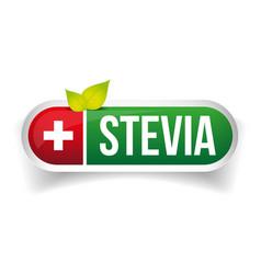 Stevia - natural sweetener label vector