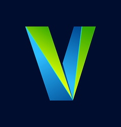 V letter line colorful logo abstract trendy green vector