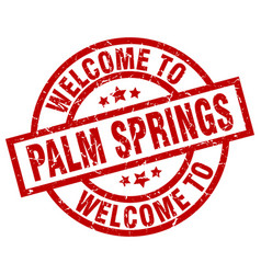 Welcome to palm springs red stamp vector