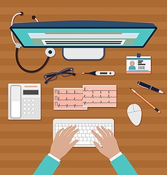 Doctor working on computer vector image
