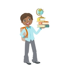 Boy In School Uniform With Books And Globe vector image