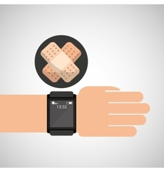 Smartwatch device health plaster symbol vector