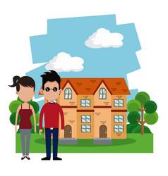 couple casual house garden vector image