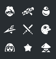Set of space war icons vector