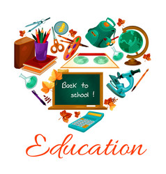 Education poster of school study supplies vector