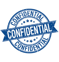 Confidential grunge retro blue isolated ribbon vector
