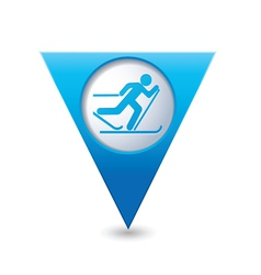 Ski track icon on blue triangular map pointer vector