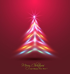 Christmas tree made of neon lights effect vector