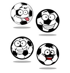 Cartoontd football or soccer balls mascots vector image