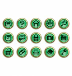 Green website and internet icons vector