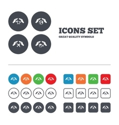 Hands insurance icons travel trip flights vector