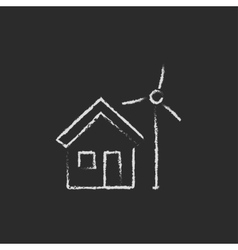 House with windmill icon drawn in chalk vector