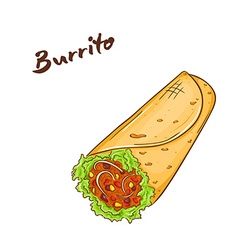 Isolated cartoon hand drawn fast food burrito vector
