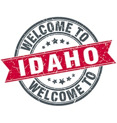 Welcome to idaho red round vintage stamp vector