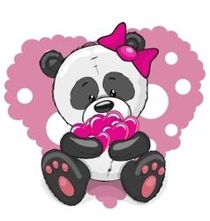 Panda with hearts vector image