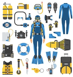 Scuba diving and snorkeling gear set vector