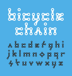 bicycle chain flat style lowercase font vector image