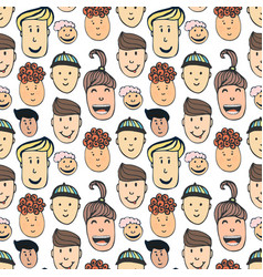 Cartoon seamless pattern with of peoples faces vector