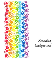 Color hands rainbow seamless border background vector image vector image