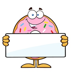Donut Cartoon Holding a Sign vector image vector image