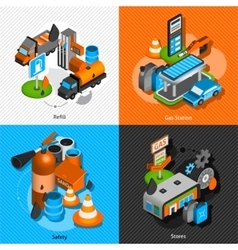Gas station isometric 4 pictograms composition vector image vector image