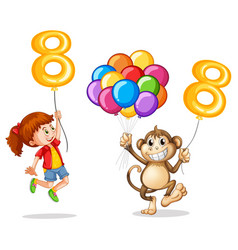 girl and monkey with balloon number eight vector image