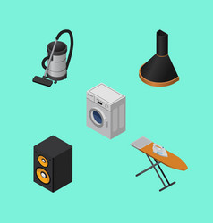 Isometric technology set of vac cloth iron music vector
