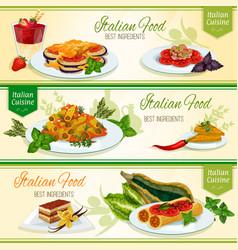 italian cuisine dinner with dessert banner set vector image vector image